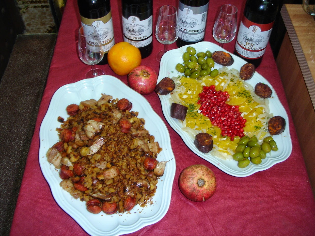 Migas cortijeras con su guarnicion del Restaurante en Cordoba Sociedad Plateros Maria Auxiliadora