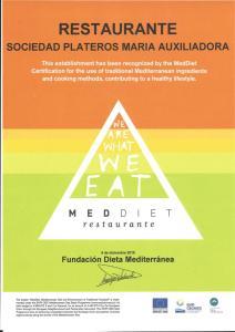 Certificado de la Fundacion Dieta Mediterranea al Restaurante Sociedad Plateros Maria Auxiliadora en Ingles