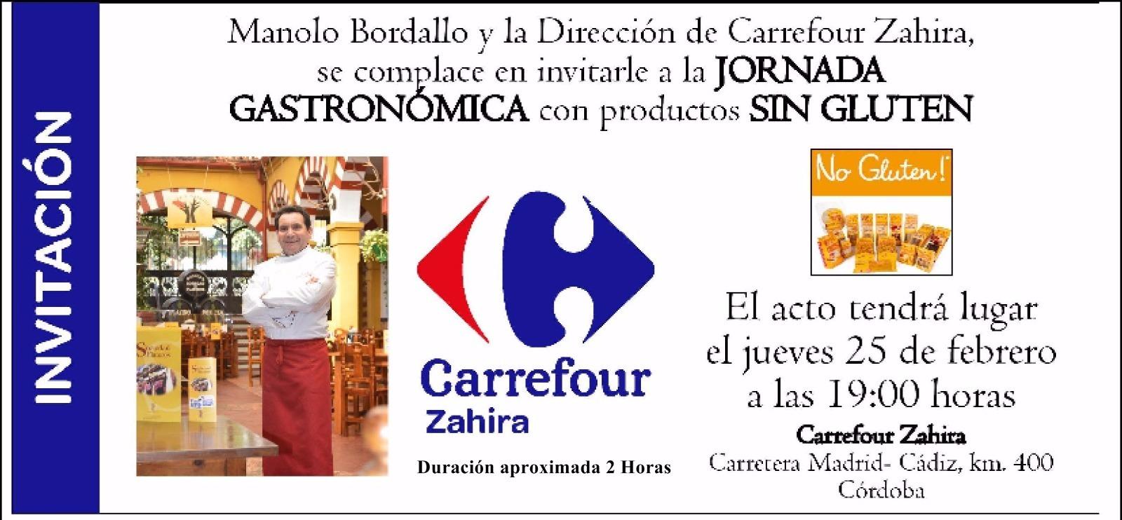 Invitacion Manolo Bordallo en la Jornada Gastronomica sin Gluten de Carrefour Zahira