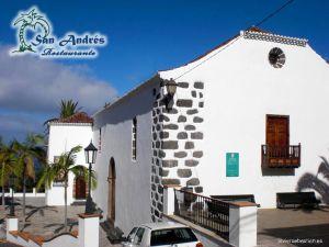 Iglesia de San Andrés Apostol · Restaurante San Andrés · La Palma · Canarias · Pescado Fresco, Paella de Marisco, Gran Selección de vinos.