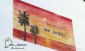 Mural Restaurante San Andrés · La Palma · Canarias · Pescado Fresco, Paella de Marisco, Gran Selección de vinos.
