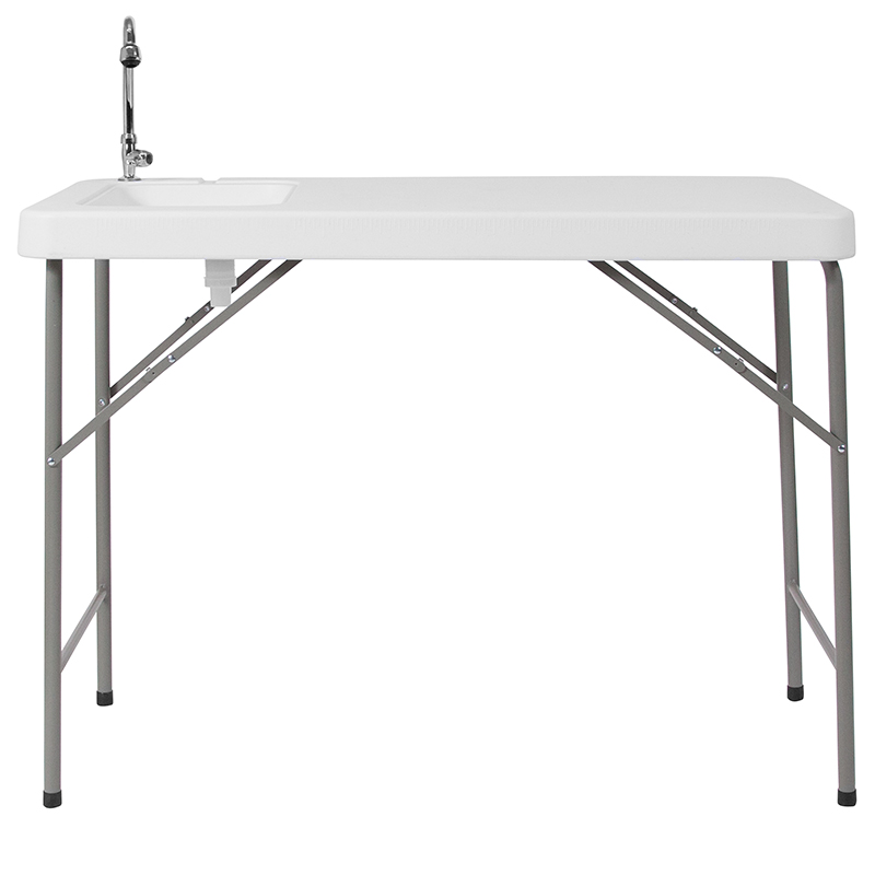 23 w x 45 l granite white plastic folding table with sink