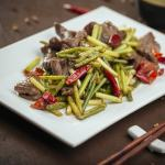 Beef with Chinese Garlic Stems