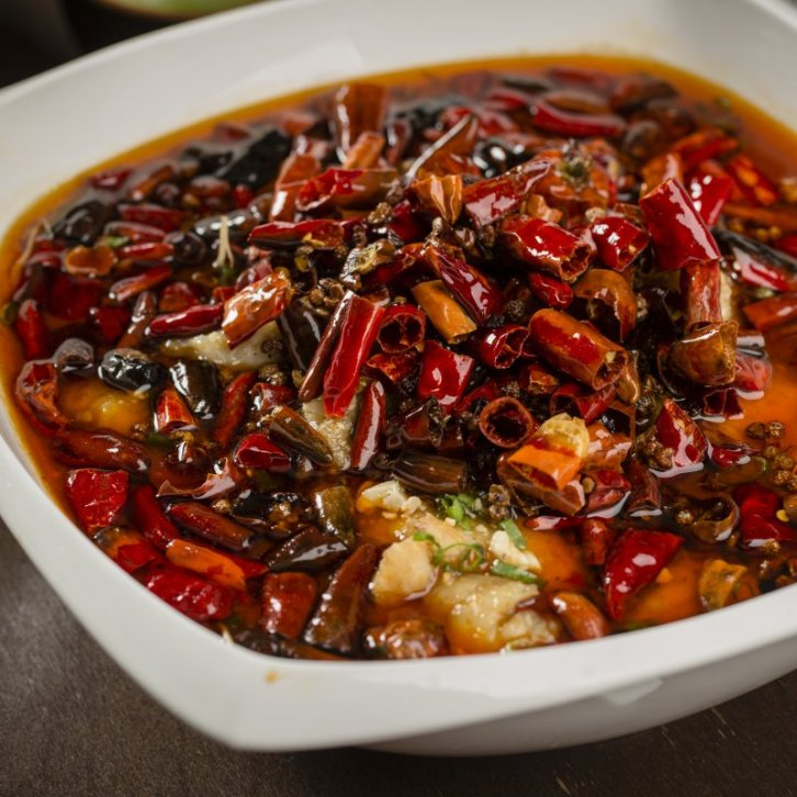 Szechuan Style Poached Fish Filet and Sprout with Chili and Peppercorns