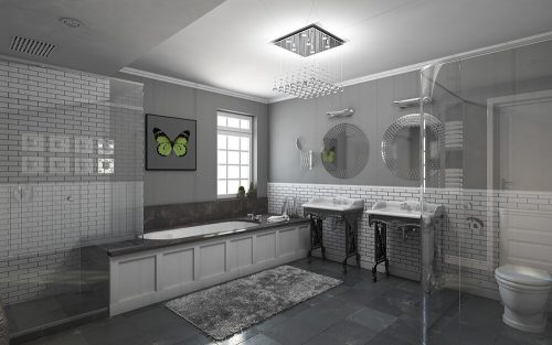 Gray bathroom with Furnishing