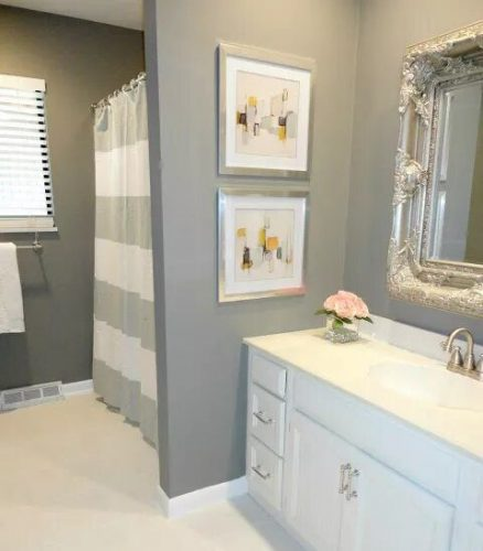 Sweet gray guest bathroom