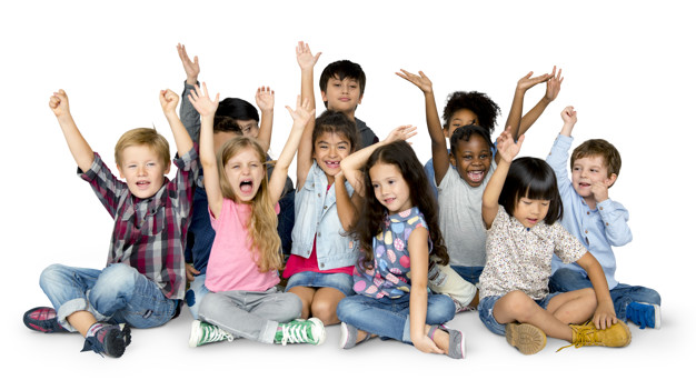 Cheerful children having a great time together with their hands raised