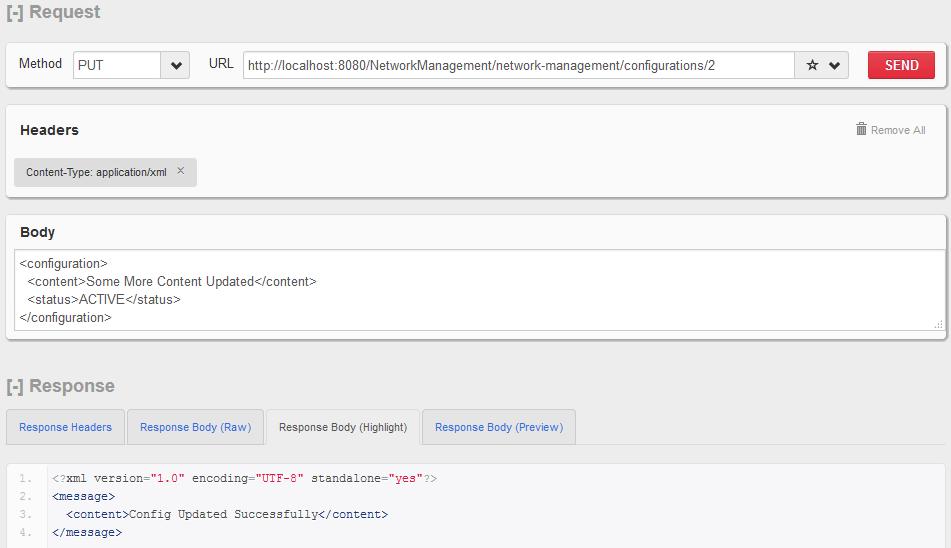 HTTP PUT - Update Individual Configuration Resource