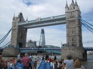 The Shard, still at construction stage, beyond Tower Bridge