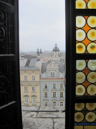 Beautiful stained glass yellow in the Ratusz in Krakow