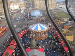 The Christmas market was under way down below