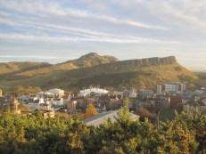 Across the Scottish Parliament buildings to Arthur's Seat.