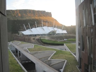 Our Dynamic Earth and Arthur's Seat from the Scottish Parliament windows