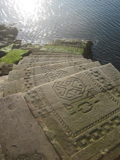 Interesting Celtic design on the steps