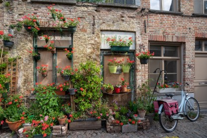 around bruges - this woman was banned from having her roof garden, so she took it to street level