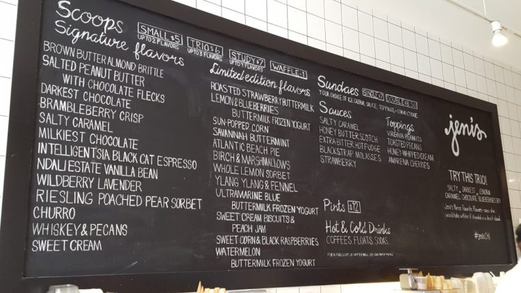 Jeni's menu board/Photo: Lauren Knight