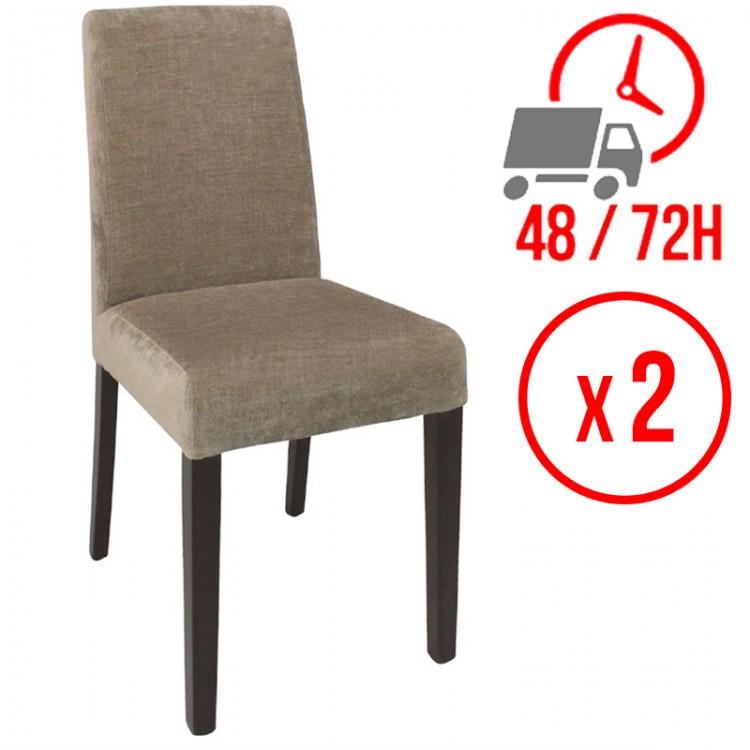 chaise en tissu beige lot de 2 restonoble fr le monde du c h r a portee de clic