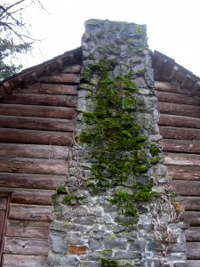 chimney detail on the Pioneer Mothers Cabin