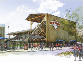 Unless the school district fails to act, a proposal by the City of Eugene presents the only opportunity to save the stadium (Reuse rendering courtesy Friends of Civic Stadium based on a grant project funded by Restore Oregon)