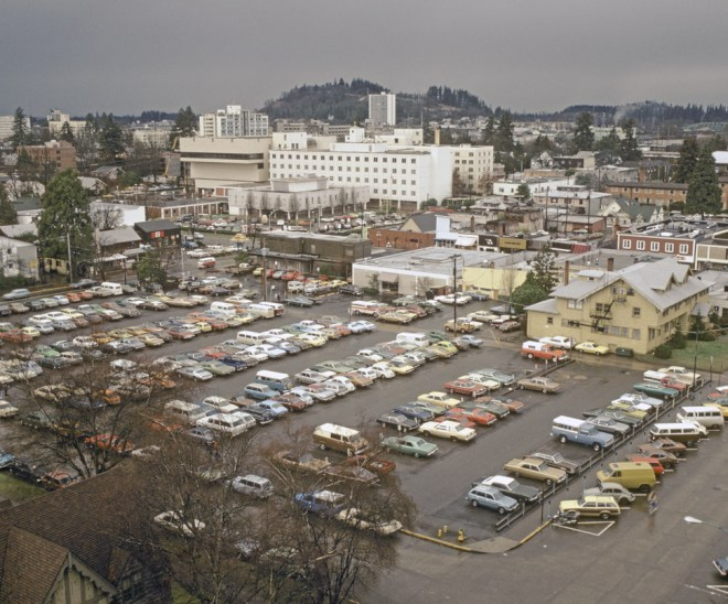 Eugene parking lot photographed in 1979, near the end of the historic period (Image courtesy University of Oregon Libraries)