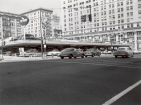 Meier & Frank Parking Lot, 1955. This parking lot was unceremoniously razed in the 1980s to make way for Pioneer Courthouse Square. Today's preservationists want the lot back (Image courtesy City of Portland Archives).