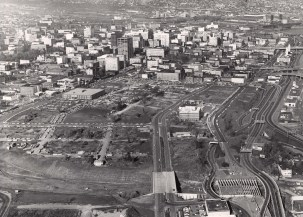 Portland's South Auditorium Urban Renewal Area in 1964. If preservation efforts are not taken soon, the important history of the vacant lot era will be lost forever (Image courtesy City of Portland Archives).