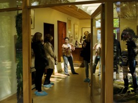 Tour-goers in the new gallery area of the Belluschi House (photo by Drew Nasto)