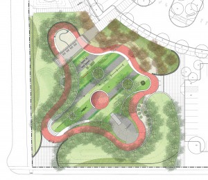 Proposed commemorative garden and therapeutic playground on site of Howard Hall (Image courtesy Scott|Edwards Architecture LLP)