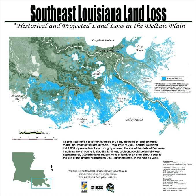 USGS Louisiana Land Loss Map