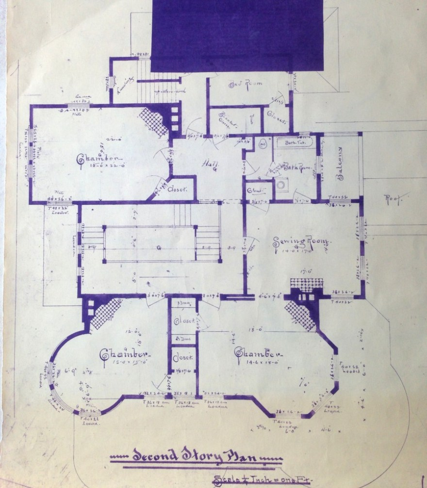 The second floor, from the original 1894 blueprints. I apologize for the blue rectangle; I have no idea why it is there. More information will soon be updated.