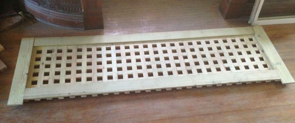 The pitiful original lattice offered itself up as something which could be carefully measured for recreation. And, presto, such a miracle ensued, and in treated lumber no less. Whoee!
