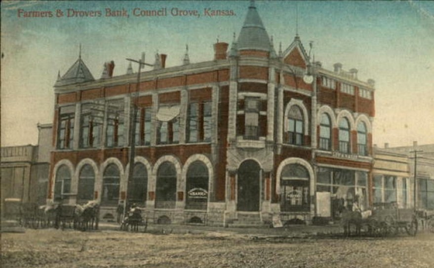 Farmers & Drovers Bank (NRHP 1971), 1893, Council Grove, KS, by Charles W. Squires. In an astonishing coincidence, Farmers & Drovers financed my purchase of the Cross House.