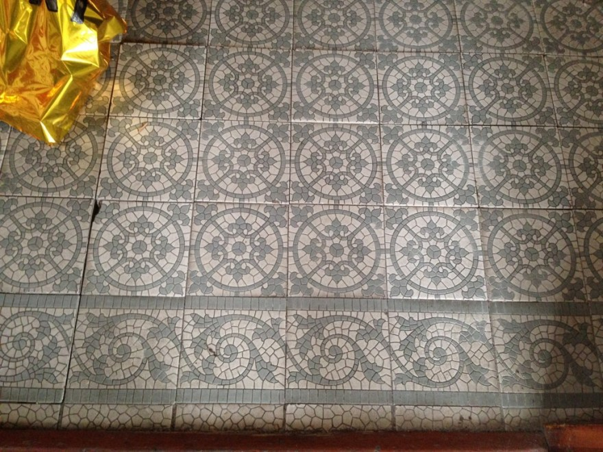 The vestibule has incredible tiles.