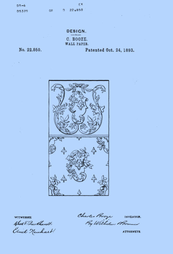 An 1893 patent document. The designer is Charles Booze. I like this, because if I have the paper recreated I can tell everybody that I have Boozey paper.