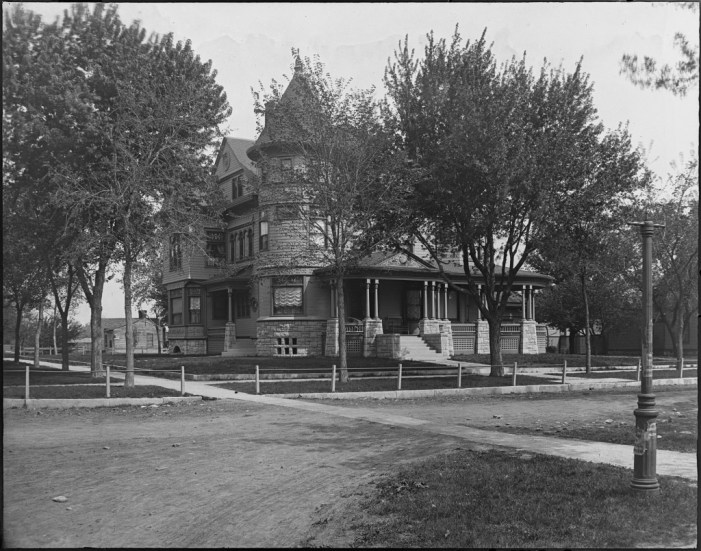 Copy of glass plate depicting the Cross home, circa 1895. Walter Anderson Collection - from ESU Archives.