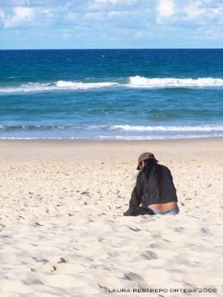 sitting on the beach Gold Coast Australia