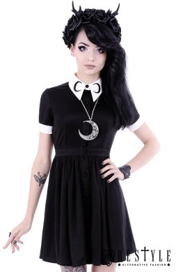 White collar with moon symbol  circle  gothic dress  MOON DRESS     White collar with moon symbol  circle  gothic dress  MOON DRESS
