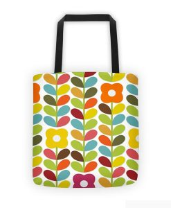 Floral tote bag on white