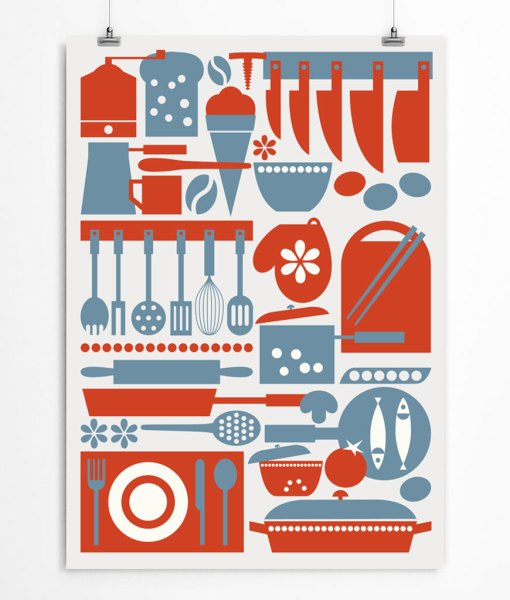 Kitchen art print red-blue combo. Check out on restylegraphic.com