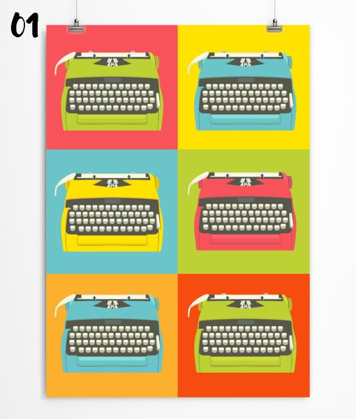 Bright typewriters art print for kid's room and playroom. Check out on restylegraphic.com