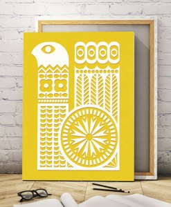 Bird ornament canvas yellow