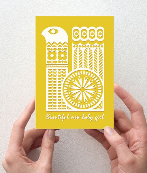 Pattern new baby card yellow