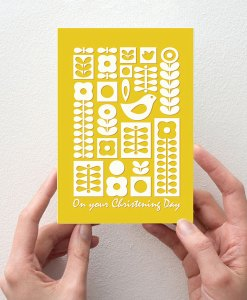 Christening Day card yellow