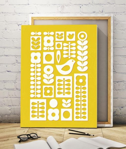 Nordic ornament canvas yellow