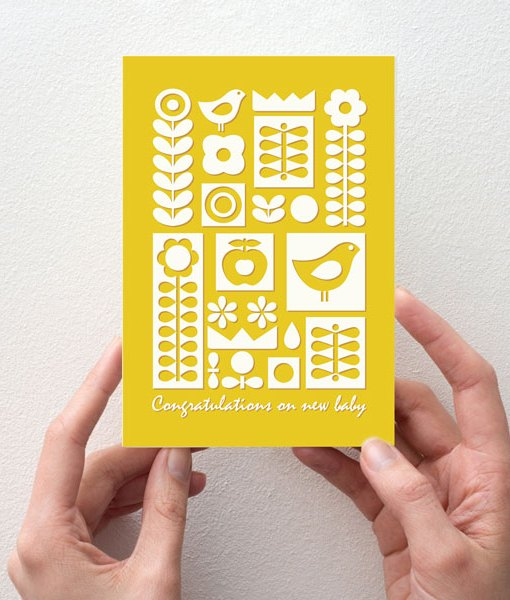 New baby card yellow