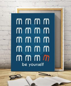 Be yourself quote navy blue canvas
