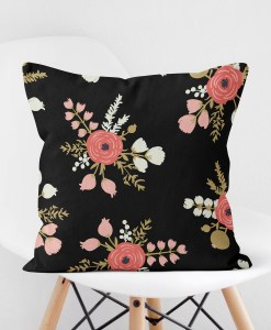 Roses Black Pillow