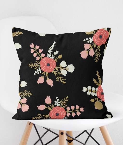 Roses Black Pillow