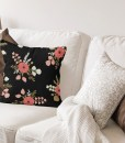 Roses Black Pillow on Sofa