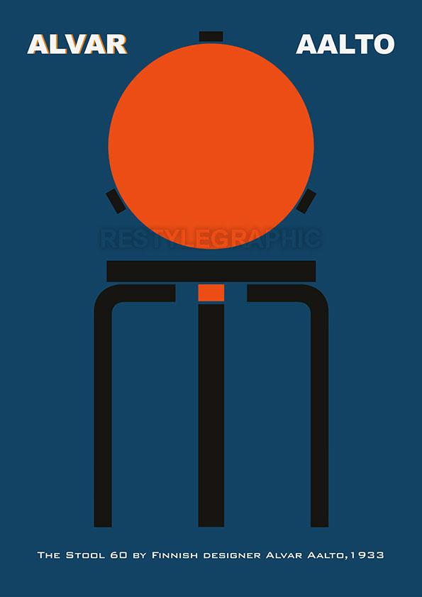 Alvar Aalto Stool 60 poster